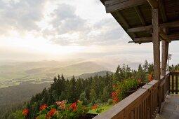 The mountain guesthouse on the Hohenbogen mountain range in Neukirchen beim Heiligen Blut in the Bavarian Forest, Germany