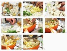Making Aloo Gobi (Indian potato and cauliflower curry)