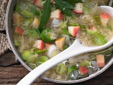 Sauerkraut soup with apples, leeks, marjoram and cider