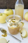 Apple sauce with cream and passion fruit