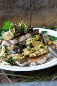 Scrambled eggs with wild mushrooms and farmhouse bread