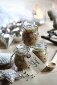 Orange and cranberry mustard as a Christmas gift