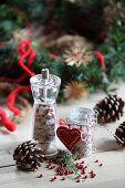 Porcini mushroom and thyme salt as a Christmas gift