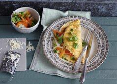 Parmesan pancake with vegetables (vegetarian)