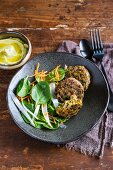 Buckwheat and swiss chard fritters with spring onion