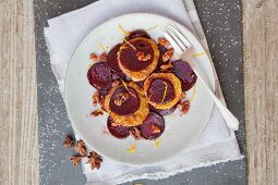 Caramelised beetroot with orange slices