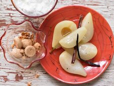 Pear compote with vanilla yoghurt and amaretti crumbs