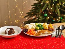 A turkey dinner and Christmas pudding