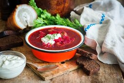 Traditional Russian and Ukrainian soup from beetroot called Borscht