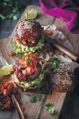 Mexican burger with tomato sauce and guacamole