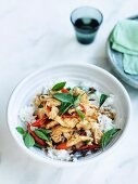 Chicken stir-fried with holy basil and chilli