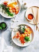 Japanese Rice Bowl with Salmon Sashimi