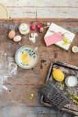 Ingredients for lemon cake on a vintage background