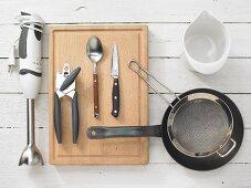Kitchen utensils for making pesto