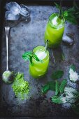 Mint iced matcha green tea