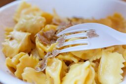 Pasta with white truffle on the truffle market in the Piedmont region of Italy