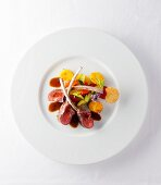 Lamb loin with courgettes and polenta