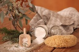 Scented bath salts in a storage glass