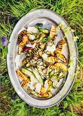 Nectarine and courgette salad