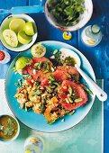A watermelon and shrimp salad