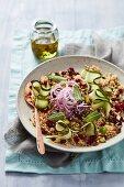 Warm quinoa salad with coriander and pomegranate seeds