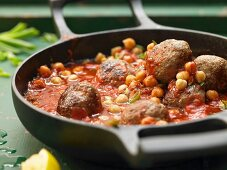 Lamb meatballs with chickpeas and tomato ragout