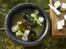 Miso soup with wakame algae, tofu and mushrooms (Asia)