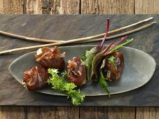 Stuffed dates wrapped in bacon