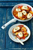 Fried vegetables with croutons and mozzarella