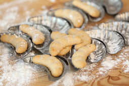 Vanilla biscuits in old moulds