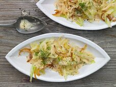 Pointed cabbage in soy cream