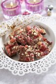 Homemade Christmas chocolates with cranberries and nuts