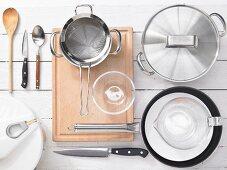 Kitchen utensils for making mackerel fillets with beetroot