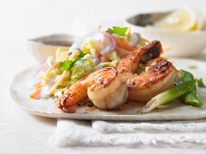 Shrimps in a sweet and spicy glaze with bok choy