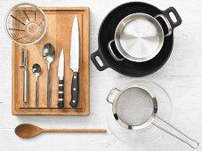Kitchen utensils for making shrimps and bok choy