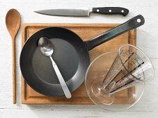 Kitchen utensils for making an oatmeal breakfast