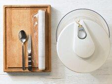 Kitchen utensils for making goat's cheese sandwiches
