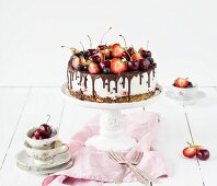 Berry cake with cherries (unbaked)