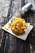 Chips in deep-frying basket