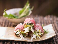 Roast beef rolls with pumpkin and bok choy