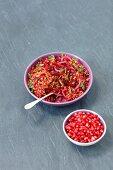 Lentils, beetroot and pomegranate salad