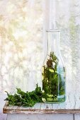 Bottle of hot herbal tea with bunch of fresh mint, served on old wooden stool with window at background