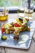 Tofu and pineapple kebabs with a wasabi dip