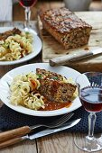 Chestnut and nut roast with spiral pasta