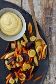 Oven cooked vegetables with polenta