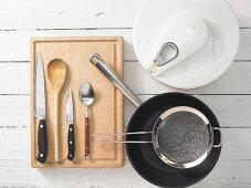 Kitchen utensils for making a braised lettuce salad