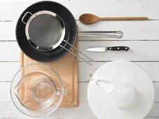 Kitchen utensils for the preparation of Mediterranean shrimp