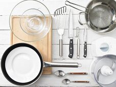 Kitchen utensils for making pollock burgers with noodles