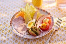 Ham, egg and vegetable salad