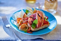 Red mullet with a vegetable salad
